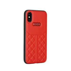 Audi backcover hoesje Q8 Serie Apple iPhone X-Xs Rood - Genuine Leather - Echt leer