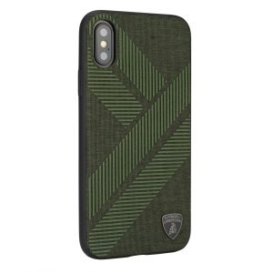 Lamborghini backcover hoesje Structure Apple iPhone X-Xs Groen - Silicone - TPU